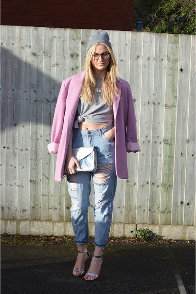 light purple lilac thrifted jacket - periwinkle boyfriend Forever 21 jeans
