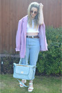 Pink-thrifted-coat-sky-blue-mom-missguided-jeans-sky-blue-missguided-bag