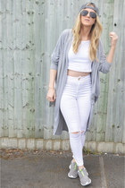 white diy Ebay jeans - heather gray Duck Denmark hat - holographic new look bag