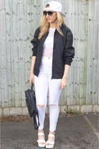 white diy Ebay jeans - white Ebay hat - black bomber versace jacket