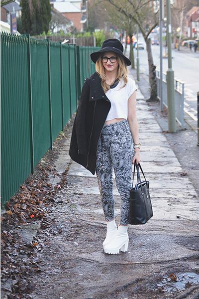 black Bershka coat - white Ebay boots - black Kangol hat