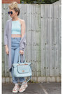 sky blue mom Missguided jeans - light blue faux leather Missguided bag