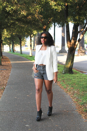 white Target blazer - gray Gap shorts - white zenana outfitters blouse