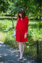 silver H&M bag - red Zara dress - charcoal gray Parfois sunglasses