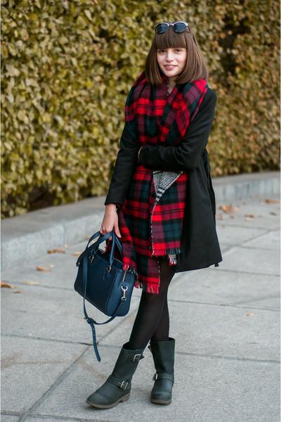 black black Zara coat - black leather poustovit for braska boots