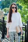 White-koton-shirt-beige-poshstore-bag-silver-parfois-sunglasses