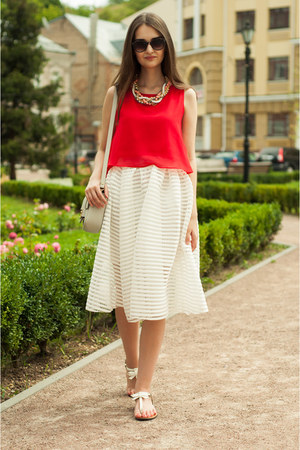 white midi Sheinside skirt - off white cross H&M bag