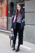 black lace-up Bershka boots - black padded GAMISS jacket