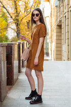 crimson brogues pull&bear boots - burnt orange suede Sheinside dress