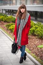 Zara scarf - Mango boots - Zara coat - Bershka jeans - Zara bag