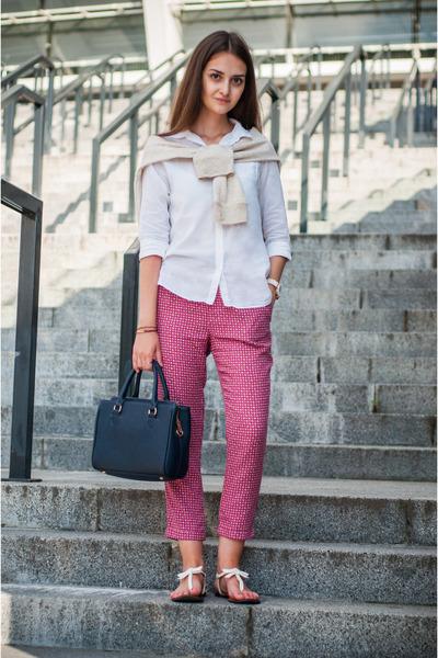 white Zara shirt - navy Zara bag - cream Zara sweatshirt - magenta Zara pants