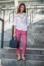 White-zara-shirt-navy-zara-bag-cream-zara-sweatshirt-magenta-zara-pants