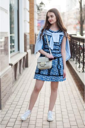 blue a line romwe dress - periwinkle mini H&M bag
