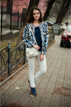 navy Centro shoes - white Zara jeans - navy Sheinside jacket - silver H&M bag