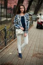 navy Centro shoes - white Zara jeans - navy Sheinside jacket - silver H&M bag