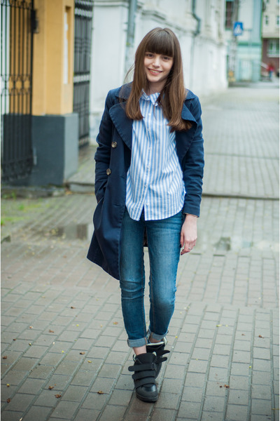 blue Bershka jeans - navy H&M coat - periwinkle Sheinside shirt - black Zara bag