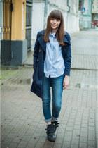 blue Bershka jeans - navy H&M coat - periwinkle Sheinside shirt - black Zara bag