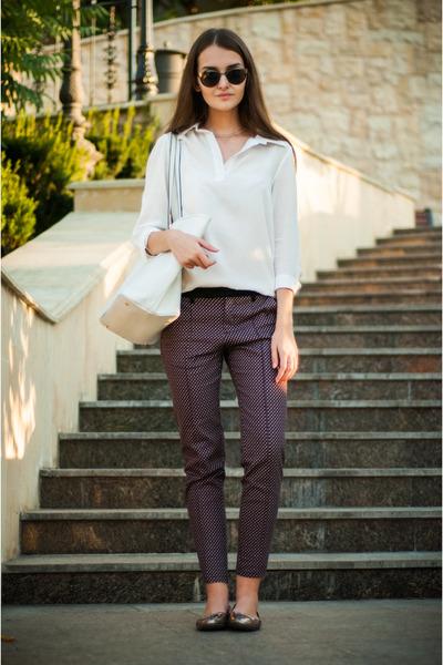 charcoal gray Parfois sunglasses - white Sheinside shirt - white Mango bag