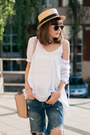 Navy-ripped-sheinside-jeans-straw-hat-unknown-hat-neutral-pink-zara-bag