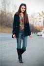 Black-pull-bear-boots-navy-pull-bear-coat-blue-bershka-jeans