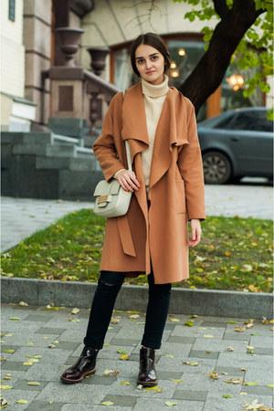 camel camel Sheinside coat - crimson chelsea pull&bear boots