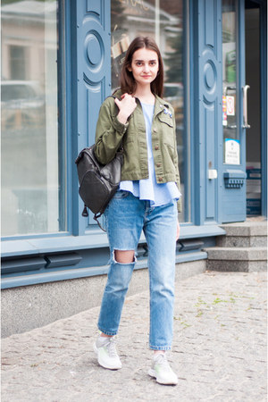 sky blue mom pull&bear jeans - heather gray army zaful jacket