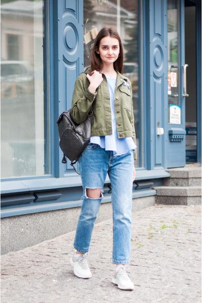 sky blue mom pull&bear jeans - heather gray army zaful jacket