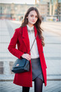 Black-pull-bear-boots-red-zara-coat-white-zara-shirt