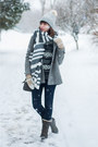 Dark-gray-waterproof-timberland-boots-silver-wool-zara-coat