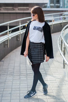 black plaid romwe skirt - white fringe Sheinside bag