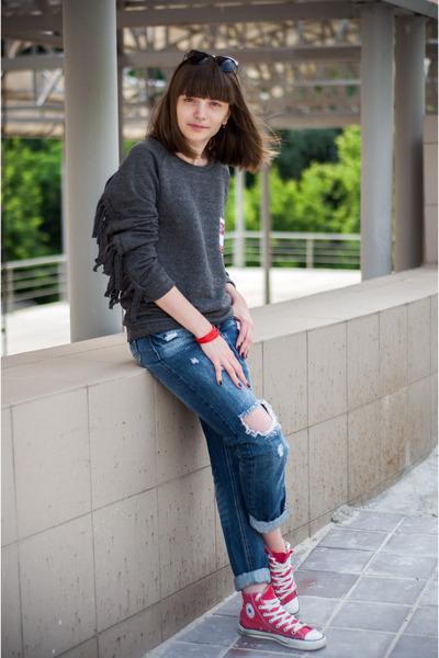 gray XU sweatshirt - navy Zara jeans - heather gray Parfois sunglasses
