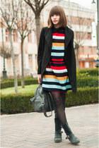 black leather poustovit for braska boots - turquoise blue striped zaful dress