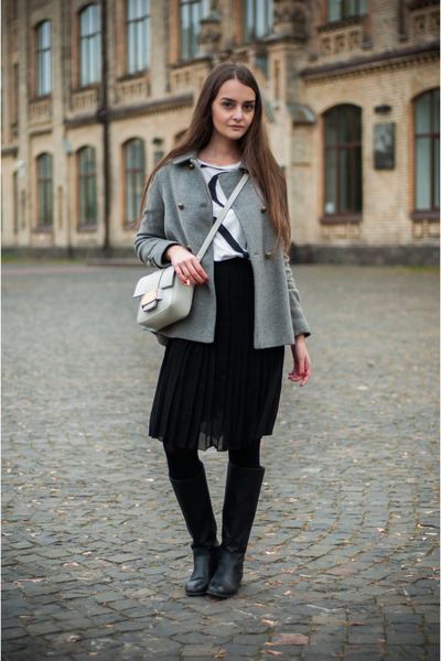 black pull&bear boots - heather gray Zara coat - silver H&M bag - white Zara top