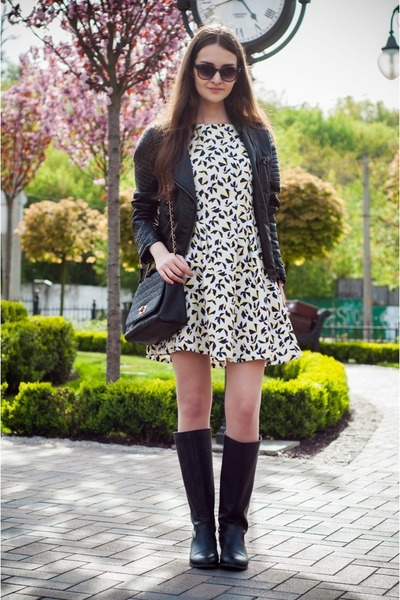 black pull&bear boots - white Sheinside dress - black Sheinside jacket