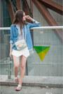 Blue-pull-bear-shirt-silver-h-m-bag-white-zara-shorts-white-zara-sandals