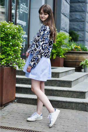 white white Adidas sneakers - sky blue shirt dress romwe dress
