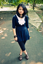 dress - leggings - wedges - javanese ring unknown brand ring - earrings