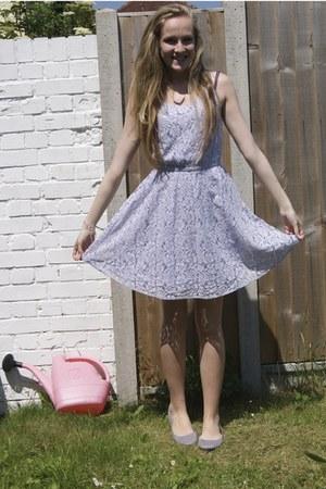 periwinkle lace H&M dress - silver H&M flats