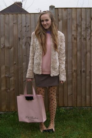 bubble gum bow Forever 21 flats - off white faux fur Mango coat