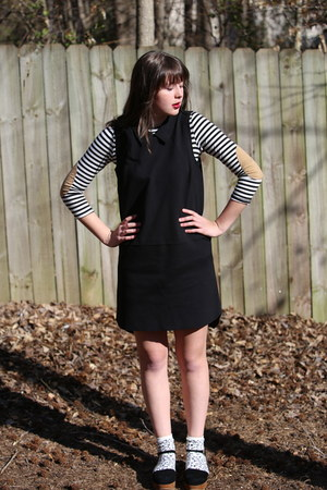 black collar madewell dress - black striped Marshalls shirt