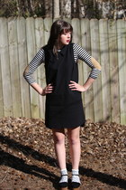 black collar madewell dress - black striped Marshalls shirt