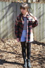 Black-motorcycle-clarks-boots-brick-red-flannel-urban-outfitters-shirt