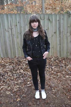 black skinny Urban Outfitters jeans - black motorcycle Marshalls jacket