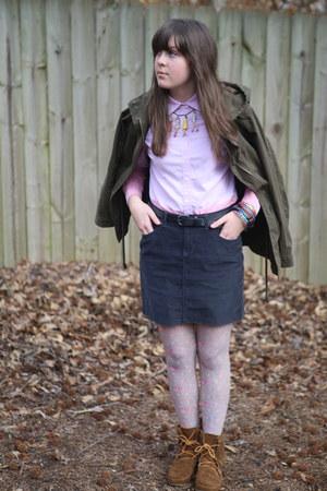heather gray floral Target tights - tawny fringe Minnetonka boots