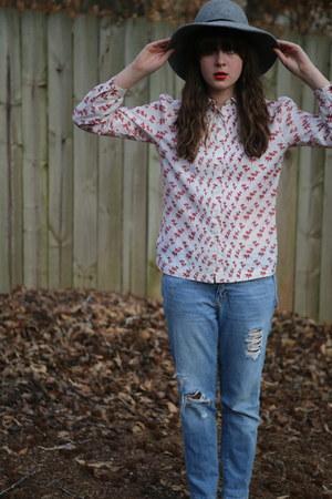 white thrift blouse - light blue ripped Gap jeans