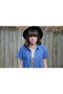 Black-fedora-urban-outfitters-hat-sky-blue-denim-goodwill-shirt