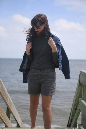 charcoal gray turtleneck Marshalls shirt - blue jean thrifted jacket
