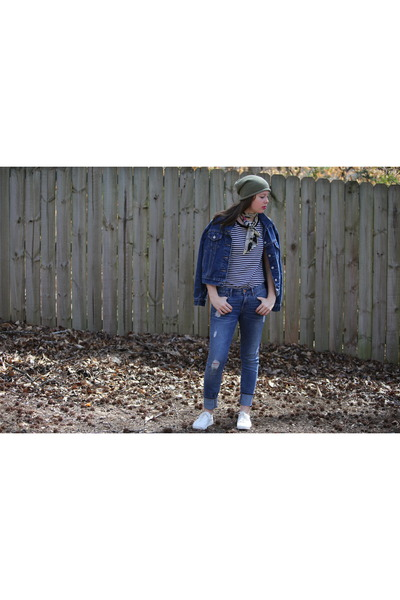 blue denim thrifted jacket - blue ripped Gap jeans