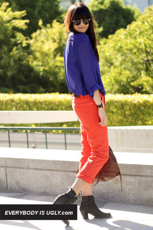 cobalt acne shirt - skinny zip rag & bone jeans - colorblock Joie sweater