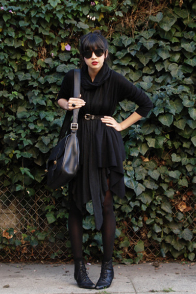 black American Apparel dress - black lace up booties thrifted shoes